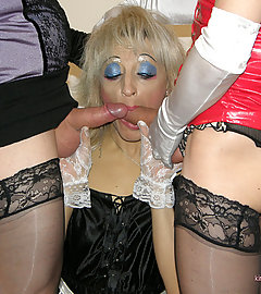 Tgirl Kirsty and her slutty crossdressers fucking each other