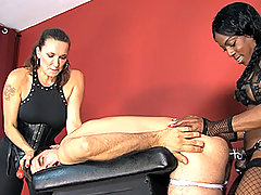 Strapon Jane and her FemDom friend Mistress Kiana punish and fuck a sissy