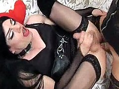 Dark haired Zoe takes a hard cock in her slutty little mouth