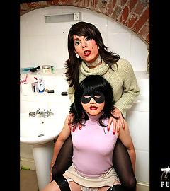 TV slut Zoe masturbating Tgirls cock on the toilet